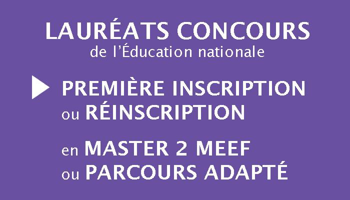 Lauréats concours : première inscription ou réinscription