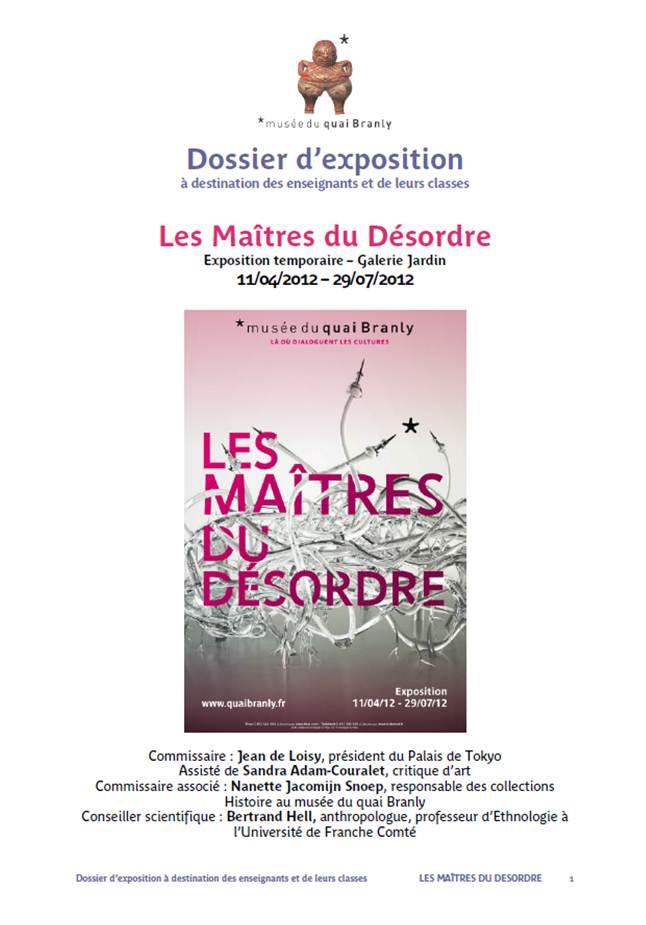 """Quai Branly : Dossier pédagogique """"Les Maîtres du désordre"""""""