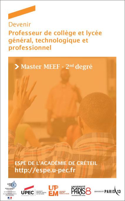 Plaquette : Devenir professeur des collèges et lycées - Master MEEF 2nd degré