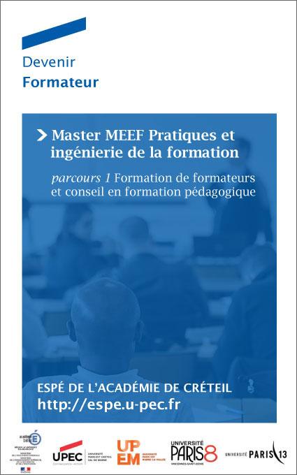 Devenir Formateur : Master MEEF Pratiques et ingénierie de la formation
