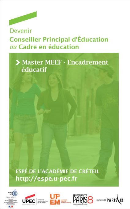 Plaquette: Devenir CPE ou Cadre en éducation - Master MEEF Encadrement éducatif
